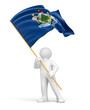 Man and flag of Maine (clipping path included)