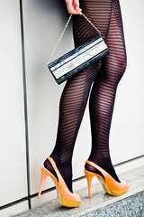 woman legs in high heel shoes