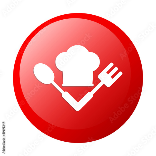 bouton internet cuisine icon red white background