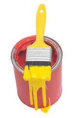 Rote Farbdose mit gelben pinsel