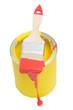 Gelbe Farbdose mit rotem Pinsel