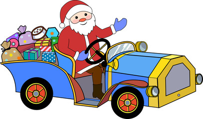 Santa Claus and retro car