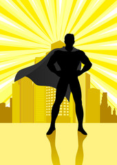 Superhero standing in front of cityscape