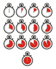 timer icon sets - stop watch, red colour