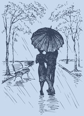 Vector romantic scene. Couple with umbrella walking in the park