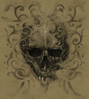 Tattoo skull over vintage paper, white tribals design