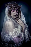 Salvation, aith concept, woman dressed in white veil and crown o poster