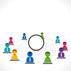 people network with blank round space vector