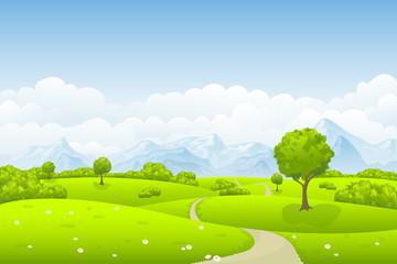 Sommerlandschaft mit Baum