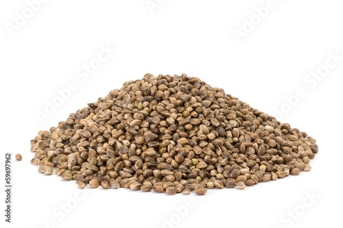 Photo of a pile of hemp seeds on white background