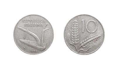 10 italian lira coin isolated on white background