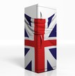3D refrigerator with english flag isolated one white