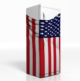 3D refrigerator with american flag isolated one white