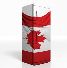 3D refrigerator with canadian flag isolated one white