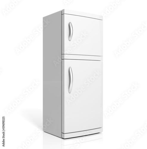 3D render of large white refrigerator isolated one white
