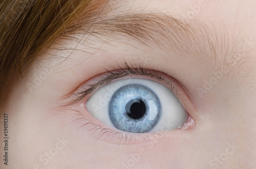 Child blue eye close up.