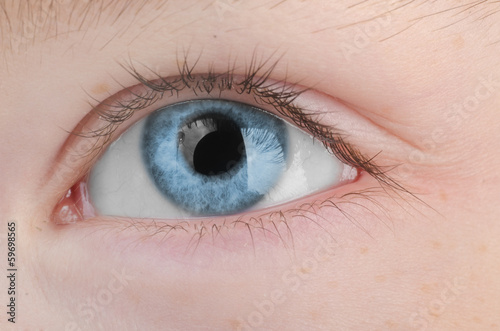Female blue eye close up.
