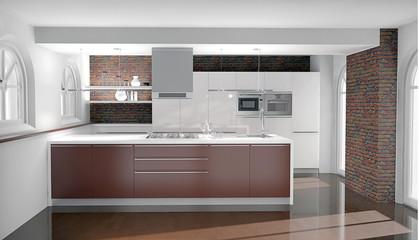 moderne Küche in Altbau