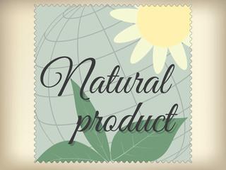 Natural product label, retro design. Vector illustration.