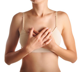 woman having heart attack holding her chest