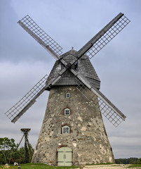 Medieval windmill in village of Araishi, Latvia, Europe