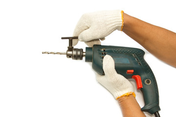Carpenter's hand with  electrical drill