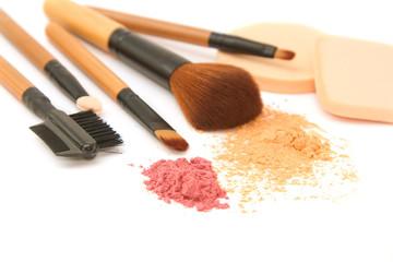 Make-up brush set and facial  powder isolated