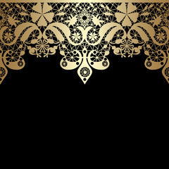 Golden seamless eastern lace pattern on black