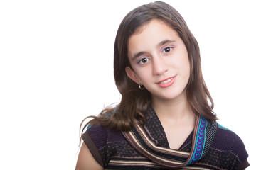 Trendy hispanic teenager isolated on a white background