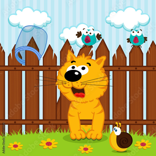 kitten passes through the wooden fence - vector illustration