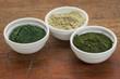 kelp, spirulina and chlorella