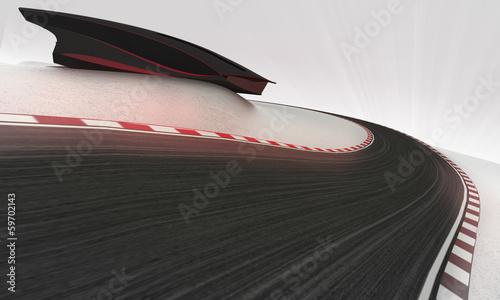 Leinwandbild Motiv speed racetrack leading outdoors around modern building