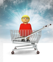 woman figure as shopping customer with sky