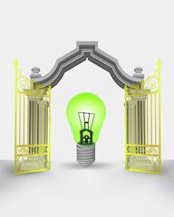 golden gate entrance with green ecological bulb vector