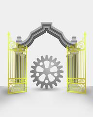 golden gate entrance with cogwheel part vector