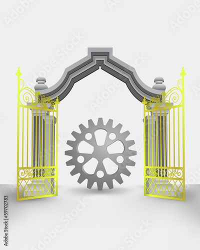 golden gate entrance with cogwheel part vector