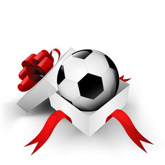 red ribbon wrapped box with soccer ball inside vector