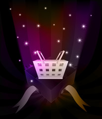 gift revelation with shopping basket at glittering stars vector