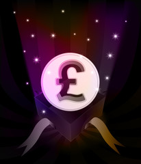 gift revelation with Pound coin at glittering stars vector