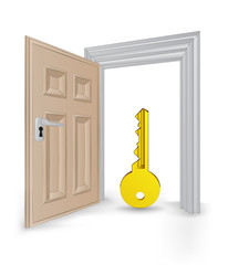 open isolated doorway frame with golden key vector