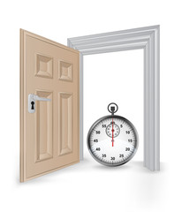 open isolated doorway frame with stopwatch vector