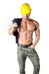 Attractive, muscular construction worker shirtless, isolated