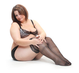 Overweight woman dress in nylons