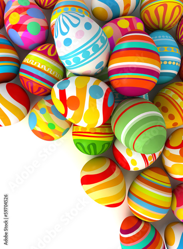 Easter eggs with plenty of copy-space for text