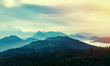 canvas print picture - Sunset in mountains