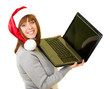 girl in Santa Claus clothes with notebook