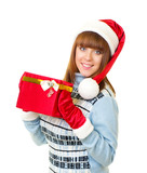 Beautiful young girl in Santa Claus clothes with gifts