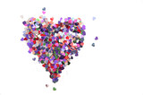 heart of sequins on white background