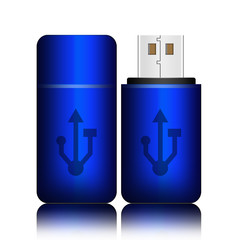 Blue universal flash drive isolated on the white background,flas