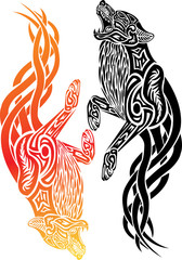 Tribal Fire wolf with Black wolf